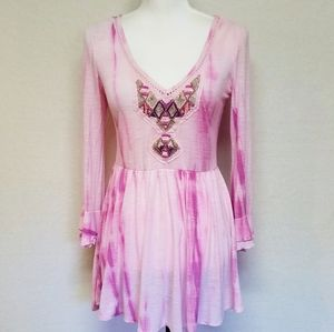 Free People Pink Purple Tie Dye Embellished Dress